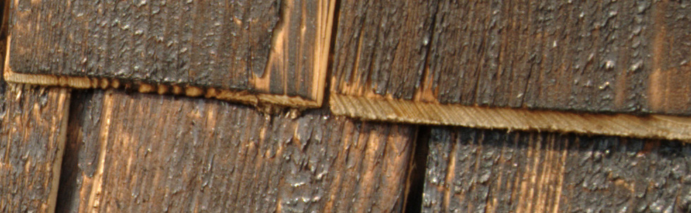 Swierk hart-rotator1.jpg - Tempered wood it's a ancient Japan technique to toughen surface against decay. The higher temperature of a process the higher ratio of  carbonization at the same time more even surface of a shingle.